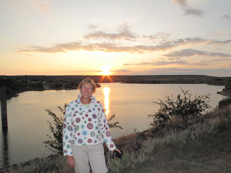Day 1: Ginger at sunset on Clayton Lake, prior to looking at dinosaur tracks.
