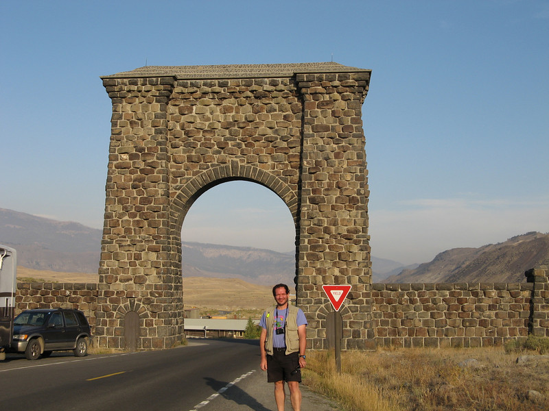 Roosevelt Arch -- We had  originally come in the East entrance, then stayed one night out of the North East entrance.  Here Ed is at the North Entrance.  We had two more entrances to go.  Not that we were trying to go through every park entrance.  The fire in south Yellowstone made the trip interesting.