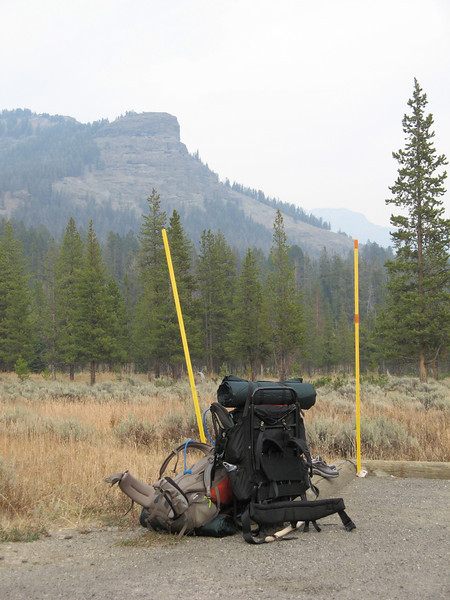 Ugh!  We made it back.  The haze is from a fire burning in South Yellowstone and two prescribed burns near by.  Ed hitched a ride to the car.