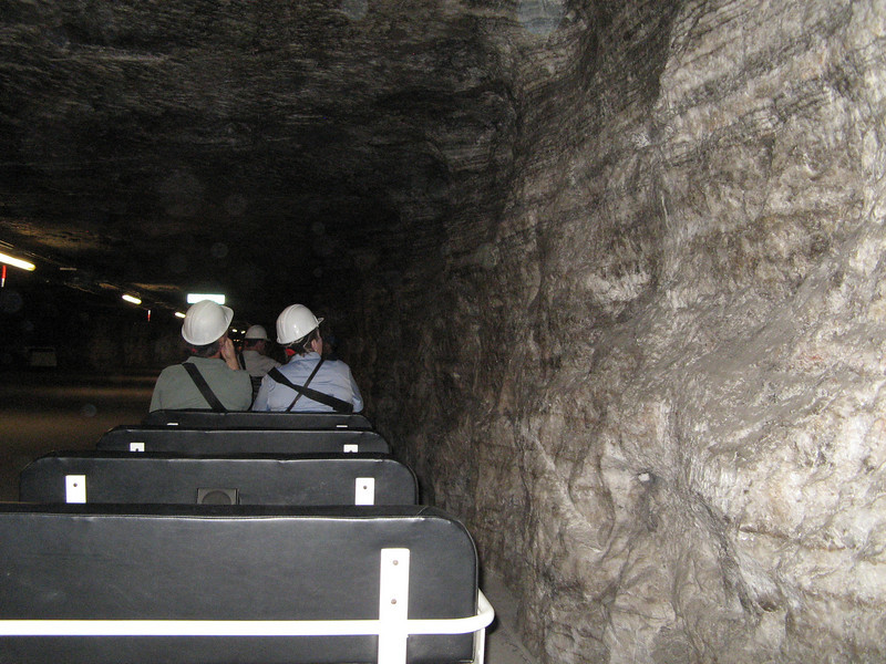 On the trolley going through the mine.