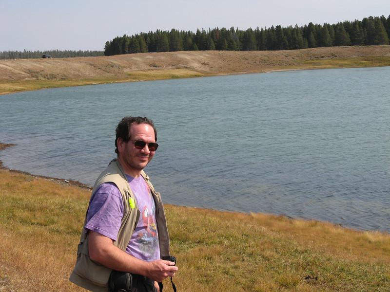Ed at Indian Pond in Yellowstone.  This is close to Lake Yellowstone and was created by a steam explosion.  There were buffalo prints in the mud, and we thought that was exciting.