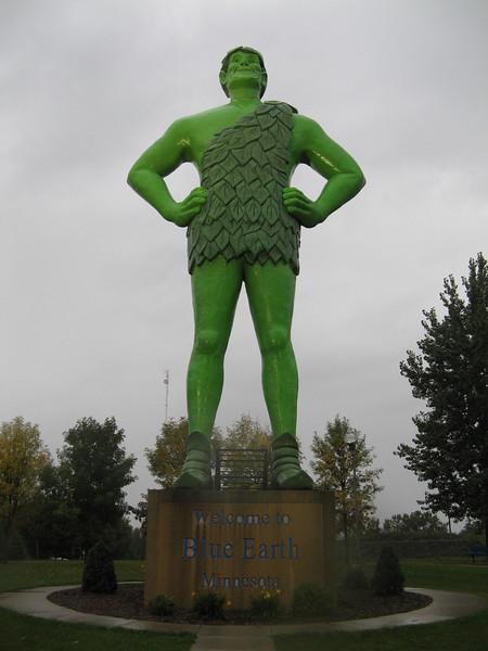Jolly Green Giant in the rain, Blue Earth, MN