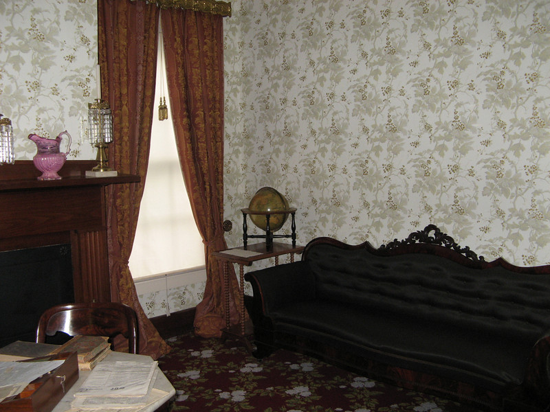 Mrs. Lincoln's parlor - that's dyed black horse hair on that sofa (a replica of the original).