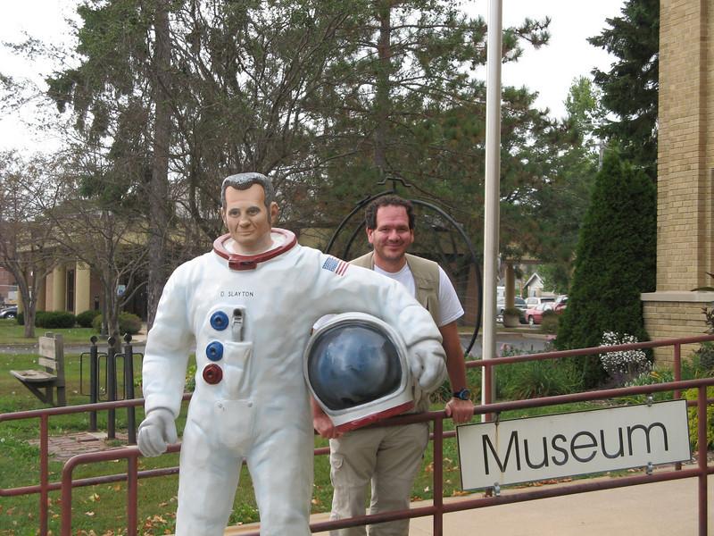 Outside the Deke Slayton Museum Sparta WI, Ed is posing with Deke.