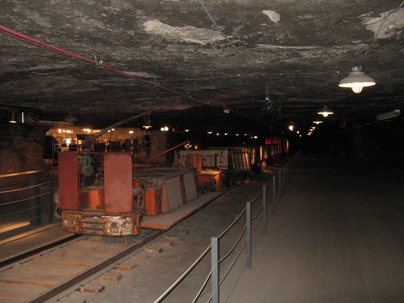 The old mining equipment in the underground museum.