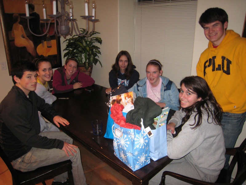 Jordy, Zoe, Allyn, Claire, Maddy, Chloe, Tyler -- at Maddy's 15th birthday