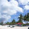 Beach, palm trees, sun, sky...