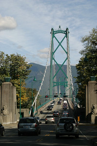 entering the Lions Gate bridge.  I later found out that the bridge is the namesake for the Lions Gate Entertainment Corporation.