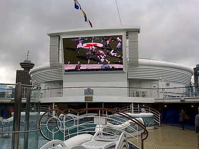 "Large screen TV ""under the stars"".  Bryan watched the Colts play the Broncos."