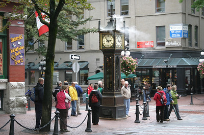 The famous steam clock in the Gastown area of Vancouver.  http://en.wikipedia.org/wiki/Steam_clock