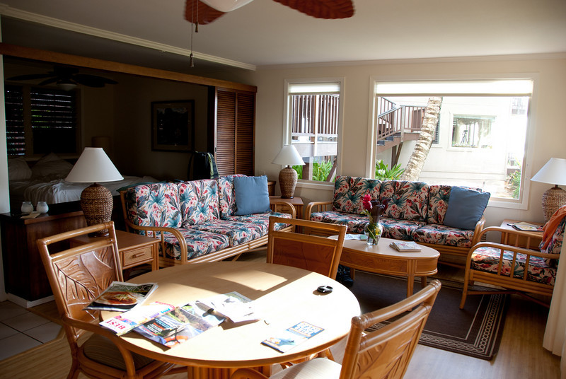 inside our two bedroom condo at Hanalei Colony Resort