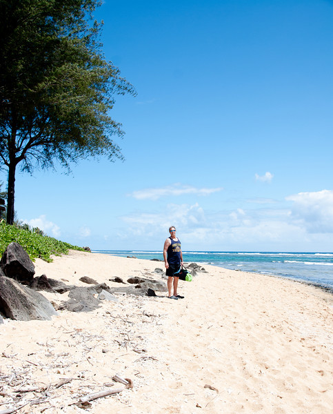 Hiking the beach near our resort