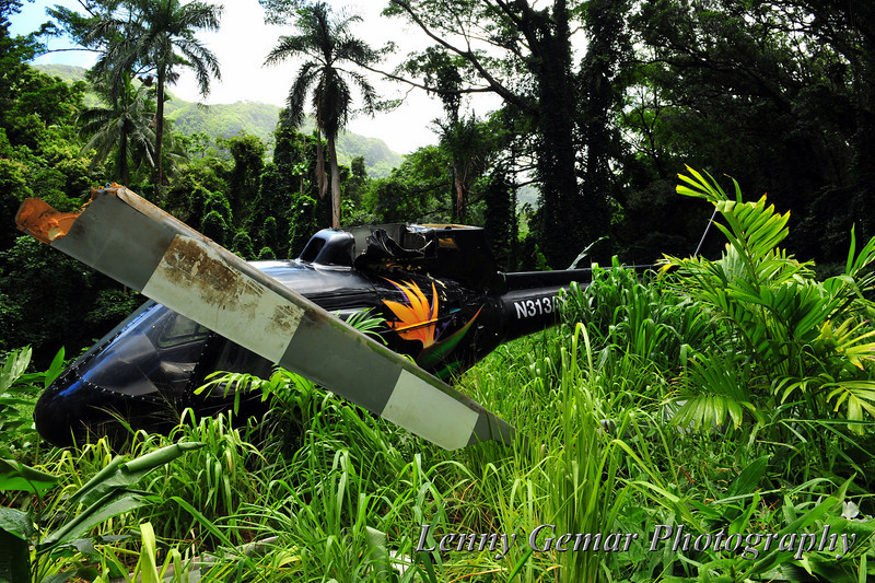 """""""Crashed"""" helicopter for the TV show Hawaii Five-O, currently in production. Shooting for this scene is scheduled for Monday, 8/9/10. Not shown in this view are the power cables and equipment being staged for tomorrow's shoot."""