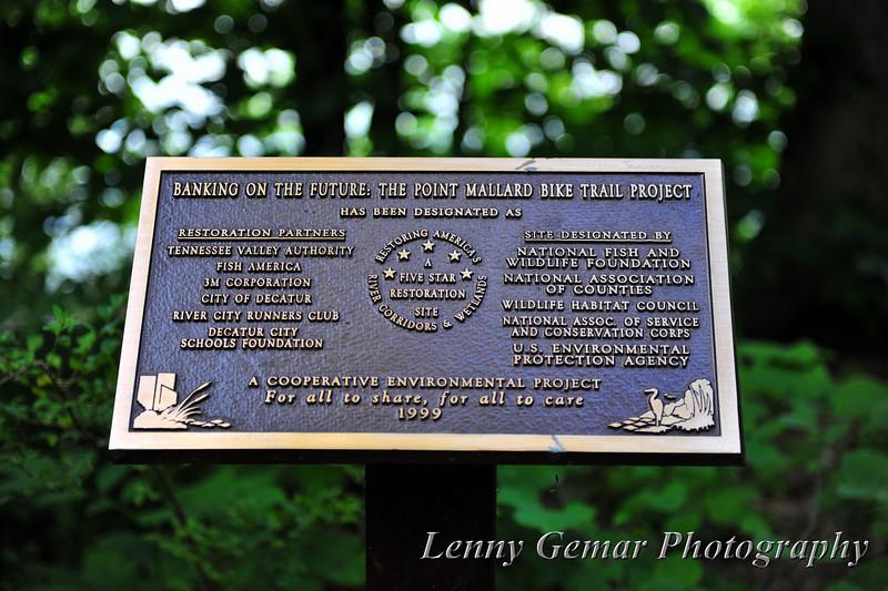 Point Mallard Bike Trail Project plaque.