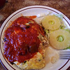 my breakfast at the most famous diner in Hilo - omelet with crab and shrimp and cheese and salsa! huge and wonderful!