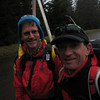 Mark Thackray and Brian Cripe start the hike up Marys Peak from Connors Camp