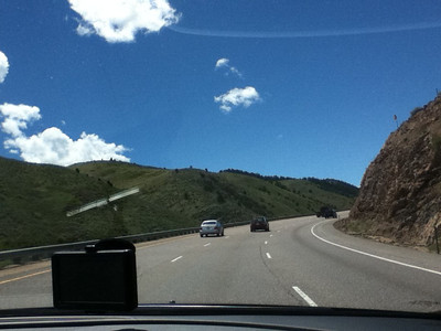 (5/21) Here is a view from the car as we head out of Denver  and into the hills...I took a couple of photos using my ipod before I grabbed my camera out of mybackpack