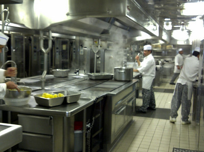 Towards the end of the cruise, we attended a cooking demo by the executive chef.  After that we had a tour of one of the galley kitchens.