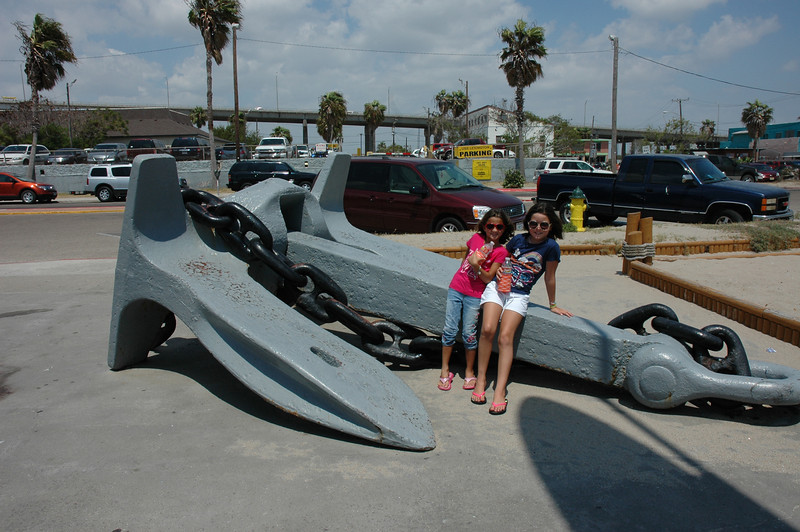 Kennedy and Audrey sitting on the anchor