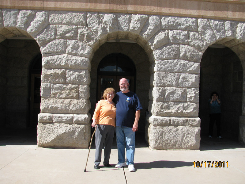 Mike and Barb at the front of the Arizona State Capitol building
