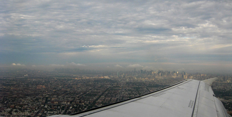 Departure from LGA, Sunday 9/25 at 8 am, that's midtown Manhattan in the distance