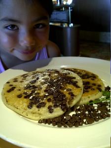Kari and her chocolate with pancakes.