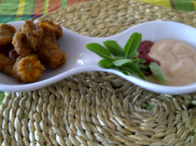 Fried fish eggs with remoulade sauce.