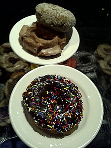 Kari's doughnut in the foreground.  Bryan's in the background.