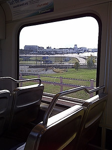 Seattle has a brand-new light rail that travels between downtown Seattle and Seatac airport.  We boarded the near-empty train.  It was a nice experience.