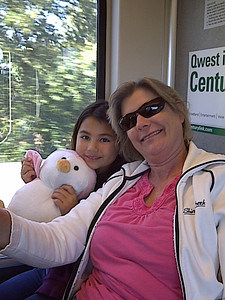 Pengi, Kari and Mommy enjoying the ride to our destination.
