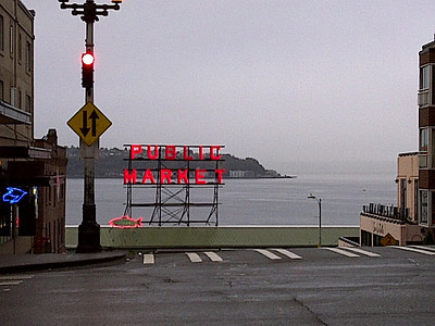 The famous neon sign.  The one due south is the one that is typically photographed.