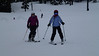 Stefanie teaching Callie how to ski