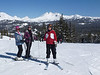 Lindy Burgess, Nancy Meitle, and Ann Asbell at Mt Bachelor with Broken Top in the background