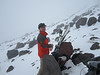 Fog and rocks at 8600' -- time for lunch and turn around