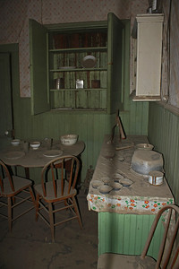 Looking into the kitchen in the Miller House - #5.  As you can see, ghosts don't like to dust.