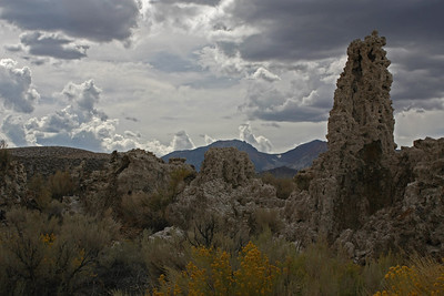 On the way back from Bodie, we stopped by Mono Lake.  The clouds and the lighting were very strange as we started hiking the loop around the South Tufa area.