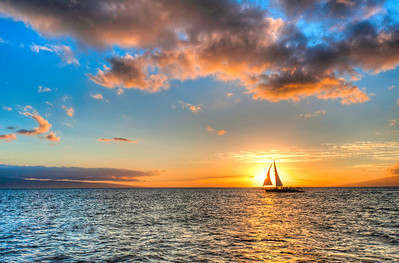 Sunset sail from a catamaran in Maui. Epic!