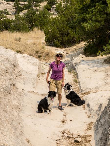Oregon Trail<br /> Nancy standing in the sandstone ruts on the Oregon Trail