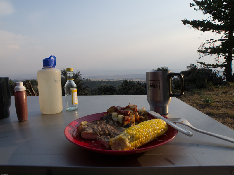 Wyoming Bighorn Adventure - Day 2<br /> Grilled pork chops, fried potatoes and corn