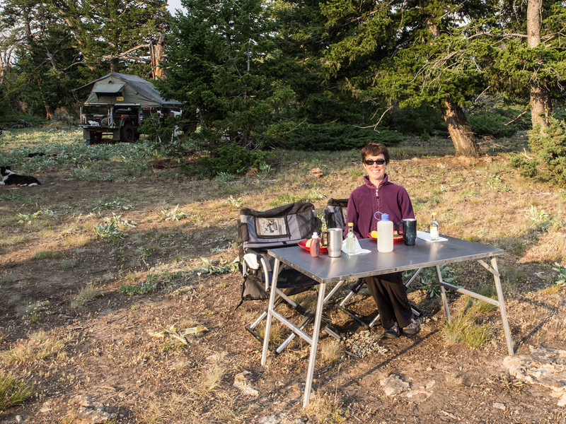 Wyoming Bighorn Adventure - Day 2<br /> Nancy at our table with a view