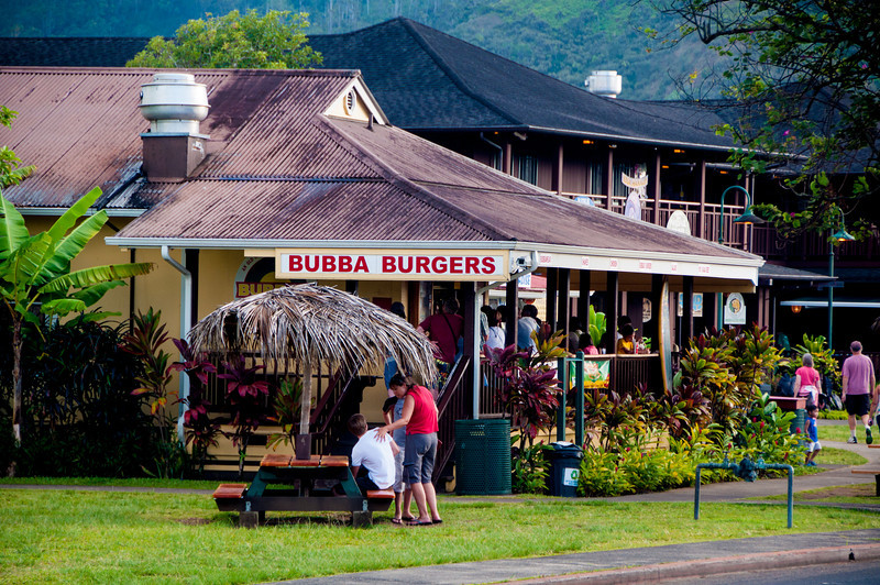 After our drive, arriving at Hanalei town.