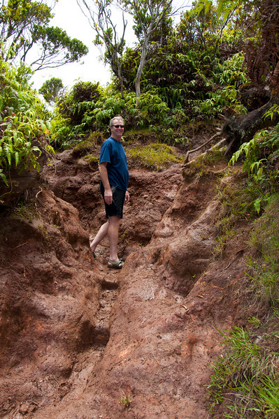 This is straight uphill in wet, clay-like mud.  The clay dried our skin instantly and filled our shoes.  It was slippery and treacherous.  Even after showers and hot tubs, we still have mud stuck to our skin.