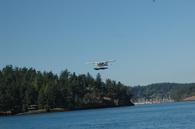 Arrival into Friday Harbor. Sea Planes taking off in Friday Harbor