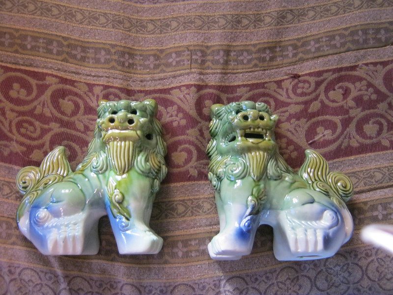 Picture of the larger shi shi dogs we got for our front door.  Grr, evil spirits!