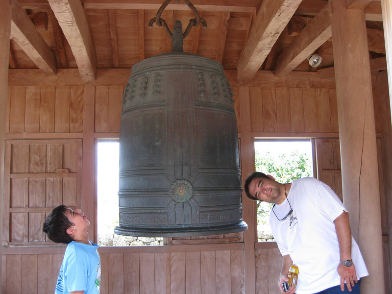 Ryan always wants to take a silly picture.  I hope this bell doesn't have major significance for Okinawa! :)