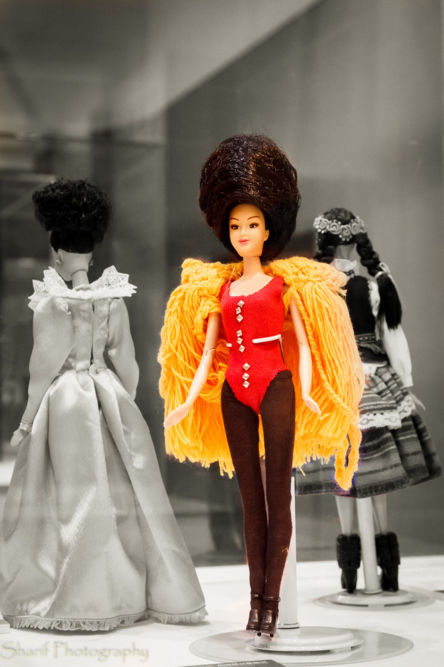 A barbie doll dressed up as a British Beefeater in an exhibition.
