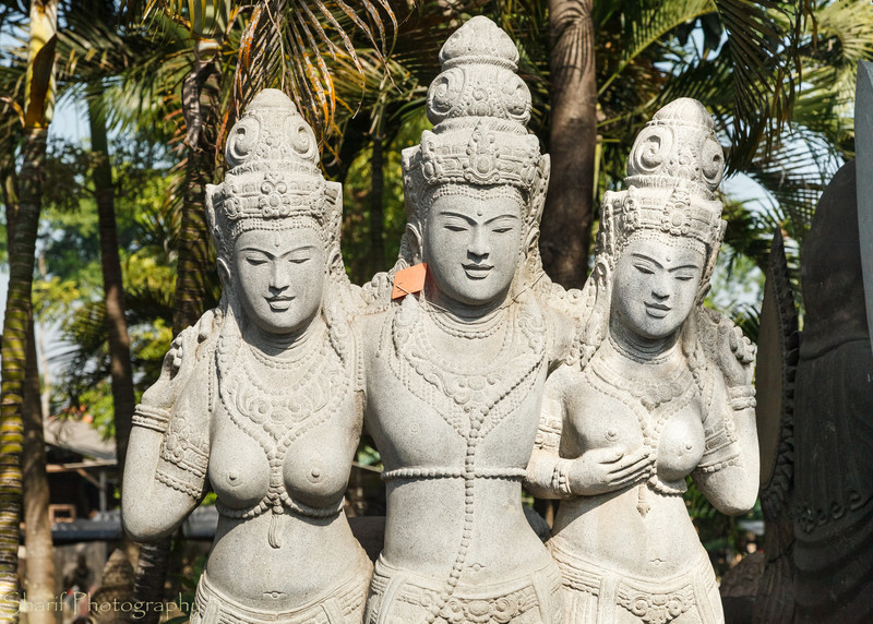 A Hindu religious statue is waiting for buyers at a factory on Bali.