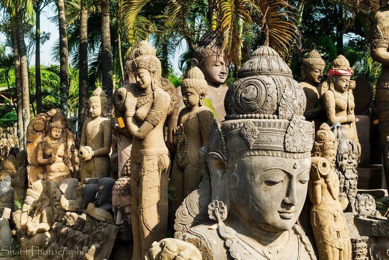 A large collection of Hindu religious statues is waiting for buyers at a factory on Bali.