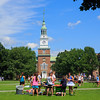 Baker Tower from the Green - Fisher Ames Baker Memorial Library is the main library at Dartmouth College.  Baker's tower is designed after Independence Hall in Philadelphia and stands 200 feet above campus and is used as an iconic representation of the college.