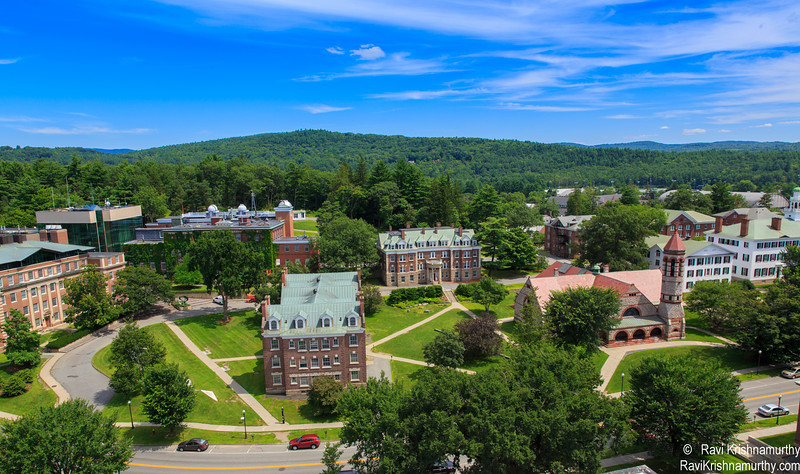 View from Baker Library Bell Tower. Dartmouth College is one of the last few places that still uses real bells instead of recordings or synthesizers. Bells are turned each year so that the hammers don't wear out the same spot on each bell,